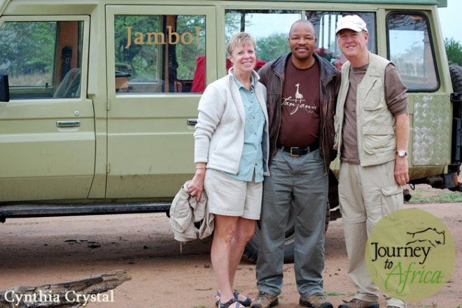 Jambo! Our guide with client Cynthia and Michael C.