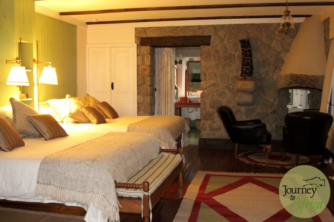 The cosy rooms each with their own fireplace.